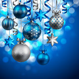 Christmas background. With blue and silver baubles. Vector illustration Stock Photography