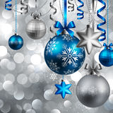 Christmas background. With baubles on blue. Vector illustration Stock Photo