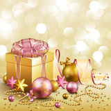 Christmas background. Beautiful golden and pink christmas background Stock Image
