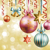 Christmas background. Christmas vintage background with baubles Stock Photography