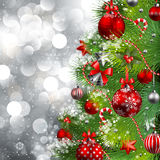 Christmas background. With baubles and christmas tree. Vector illustration Stock Photos
