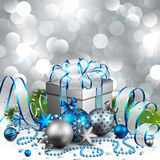 Christmas background. Beautiful silver and blue christmas background. Vector illustration Stock Photography