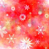 Christmas background. Christmas red background with snowflakes falling down Stock Photos