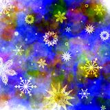 Christmas background. Christmas blue background with snowflakes falling down Stock Photography