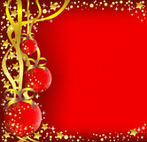 Christmas background. Vector illustration of christmas balls with ribbons on the red background Royalty Free Stock Image