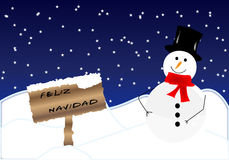Christmas background. Landscape and Christmas card with snowman in Spanish royalty free illustration