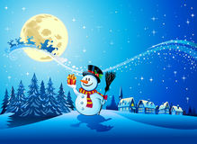 Christmas background. Illustration of snowman receiving present from Santa Claus in decorative Christmas background Stock Image