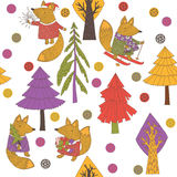 Christmas background. Christmas forest with cartoon cute foxes Royalty Free Stock Photo