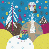 Christmas background. Christmas forest with cute owls in a forest Stock Photography