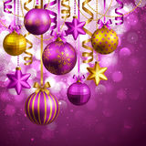 Christmas background. With purple and golden baubles. Vector illustration stock illustration