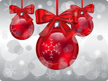 Christmas background. Christmas vector illustration with grey background and red balls with bows vector illustration