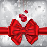 Christmas background. Christmas vector illustration with red ribbon, balls and lights royalty free illustration