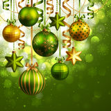 Christmas background. With green and golden baubles. Vector illustration vector illustration
