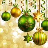 Christmas background. With green and golden baubles. Vector illustration Stock Photo
