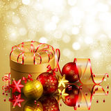 Christmas background. With red and golden balls. Vector illustration Royalty Free Stock Photography