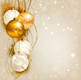Christmas background. Elegant Christmas background with gold and white evening balls Royalty Free Stock Photography