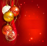 Christmas background. Red Christmas background with gold and red evening balls Stock Image