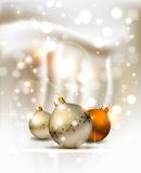Christmas background. Elegant glimmered Christmas background with three evening balls Royalty Free Stock Photography