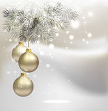 Christmas background. Light Christmas background with three evening balls and fir tree Stock Photography