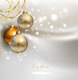 Christmas background. Elegant glimmered Christmas background with shine evening balls Royalty Free Stock Photo