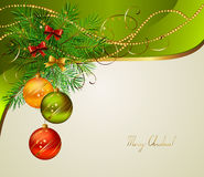 Christmas background. With three evening balls Royalty Free Stock Images