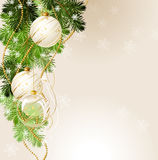 Christmas background. Light Christmas background with white evening balls Stock Photography