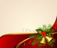 Christmas background. Festive bells with Christmas fir tree and holly Royalty Free Stock Photos