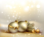Christmas background. Light Christmas background with two evening balls Stock Image