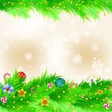 Christmas background. With baubles and christmas tree and showflakes Royalty Free Stock Photos
