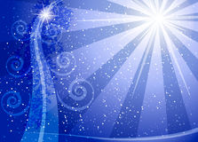 Christmas background. Blue Christmas background, Christmas tree and light from a star Royalty Free Stock Image