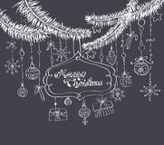 Christmas background. With cute decorations and place for text over dark blue Royalty Free Stock Photo