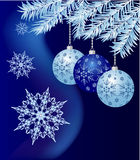 Christmas background. Christmas baubles and snowflackes on blue background royalty free illustration