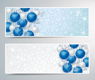 Christmas background. Two banners with Christmas decoration balls Royalty Free Stock Photos
