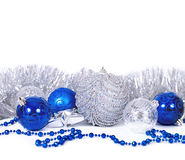 Christmas background. With blue and silver balls royalty free stock photos