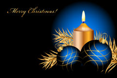 Christmas background. Vector blue and gold christmas background Stock Images