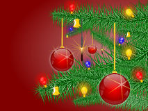 Christmas background. And sapling and christmas ball and  bell and sparkler and bulb, illustration Stock Photography