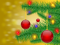 Christmas background. And sapling and christmas ball and  bell and bulb, illustration Royalty Free Stock Images