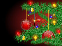 Christmas background. And sapling and christmas ball and  bell and sparkler and bulb, illustration Royalty Free Stock Image