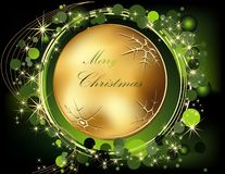 Christmas  background. Gold and green Stock Photos