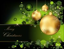 Christmas  background. Gold and green Stock Images