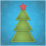 Christmas background. New Year background with Christmas tree and star made of leather. Vector illustration stock illustration