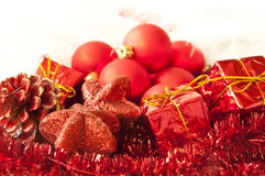 Christmas background. Red christmas ornaments on white background Stock Images