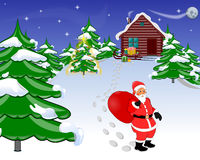 Christmas background. Santa Claus and gifts and sled at house Royalty Free Stock Image