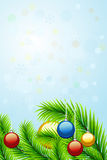 Christmas background. Beautiful christmas background with christmas-tree decorations, fir branches, snowflakes and bubbles  for your design Stock Photography