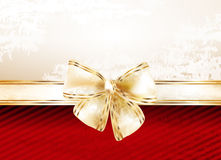 Christmas background. With gold bow Royalty Free Stock Image