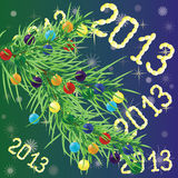 Christmas background. Colorful Christmas balls on Christmas tree branch and with number 2013 stock illustration