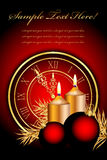 Christmas background. With candles and clock Stock Photography