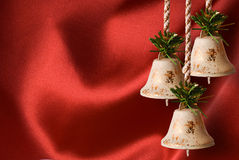 Christmas background. Vintage antique little bell with copy space Stock Image