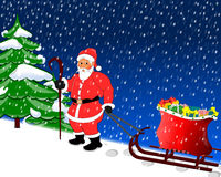 Christmas background. Santa Claus and gifts and snow Royalty Free Stock Images