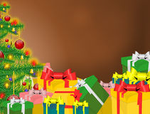 Christmas background. And gifts and tree Royalty Free Stock Photo